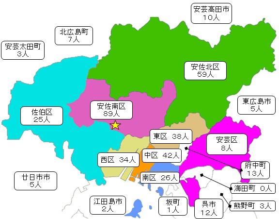 区及び隣接市町別入院患者数の地図
